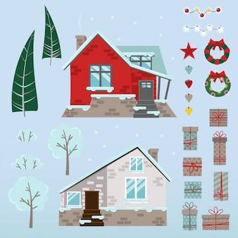 Conjunto de casas navideñas, árboles y plantas, juguetes y regalos.