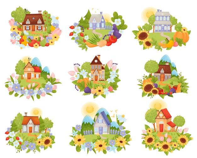 Conjunto de casas de pueblo en el prado con un camino entre flores.