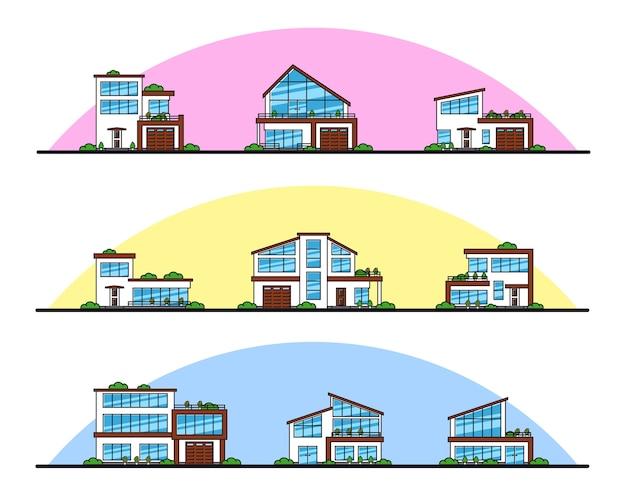 Conjunto de casas residenciales de estilo moderno urbano y suburbano, iconos de líneas finas.