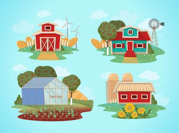 Conjunto de casas rurales. invernadero, granero, casa con molino. ilustración en estilo de dibujos animados.