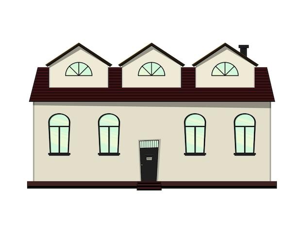 Conjunto de casas sobre un fondo blanco para construcción y diseño. estilo de dibujos animados. ilustración vectorial.