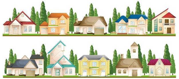 Conjunto de casas suburbanas.