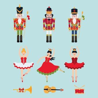 Conjunto de cascanueces, ballirinas, violín, tambor.