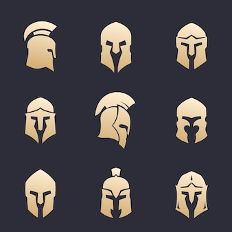 Conjunto de cascos, armadura espartana, griega, romana