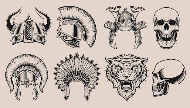 Conjunto de cascos y cráneos en blanco y negro, tigre sobre un fondo blanco.