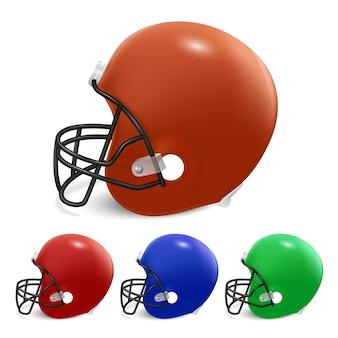 Conjunto de cascos de fútbol americano.