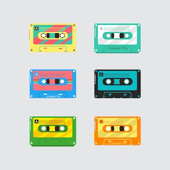 Conjunto de casete retro de música vintage sobre fondo blanco. casetes de audio de plástico dispositivos de medios vintage, grabación de música iconos aislados. ilustración,.