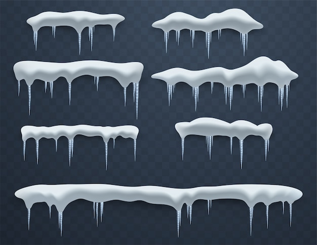 Conjunto de casquetes polares. ventisqueros, carámbanos, elementos de decoración de invierno, decoraciones de hielo. masas de nieve realistas.