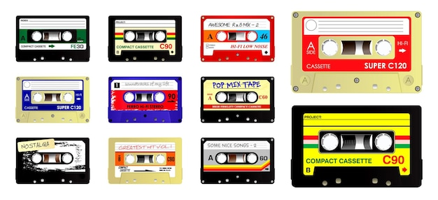 Conjunto de cassette de audio retro. vector eps