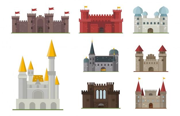 Conjunto de castillo de cuento de hadas de dibujos animados