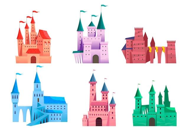 Conjunto de castillo medieval de cuento de hadas
