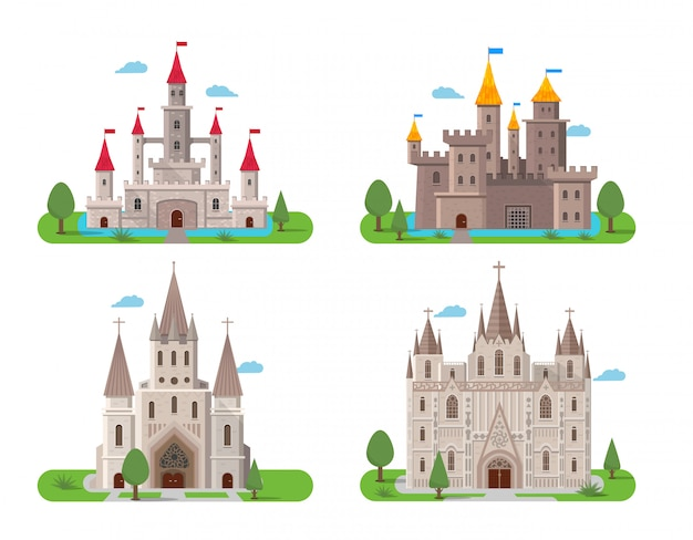 Conjunto de castillos antiguos medievales.