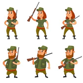 Conjunto de cazadores en diferentes poses. personajes masculinos y femeninos en estilo de dibujos animados.