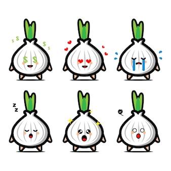 Conjunto de cebolla blanca linda con personaje de dibujos animados de expresión