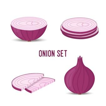 Conjunto de cebolla, rodajas y vegetales morados enteros