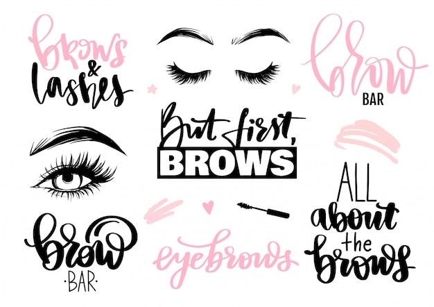 Conjunto de cejas y pestañas. letras de caligrafía citas o frases, ojos.