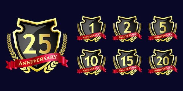 Conjunto de celebración de aniversario emblema redondo diseño de plantilla de insignia de estilo de flor real de lujo