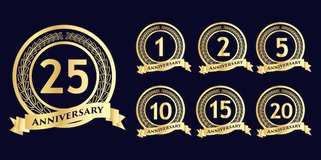 Conjunto de celebración de aniversario redondo diseño de plantilla de insignia de estilo de flor de emblema con evento de celebración