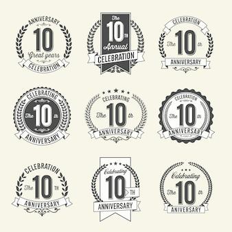 Conjunto de celebración de año de insignias de aniversario retro