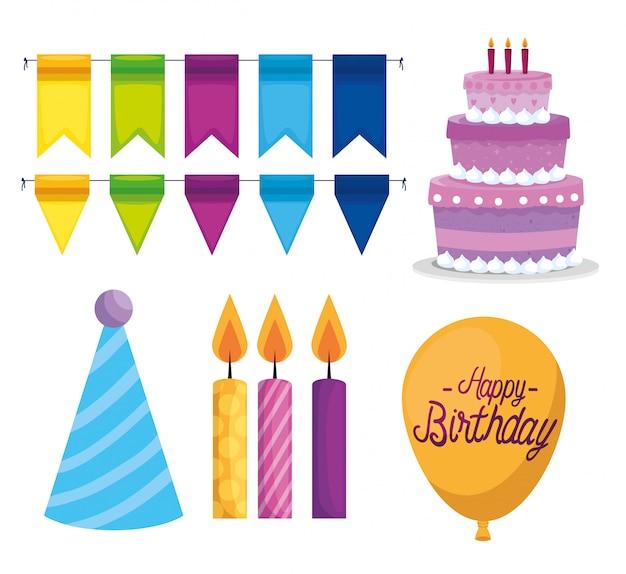 Conjunto de celebración feliz cumpleaños paty