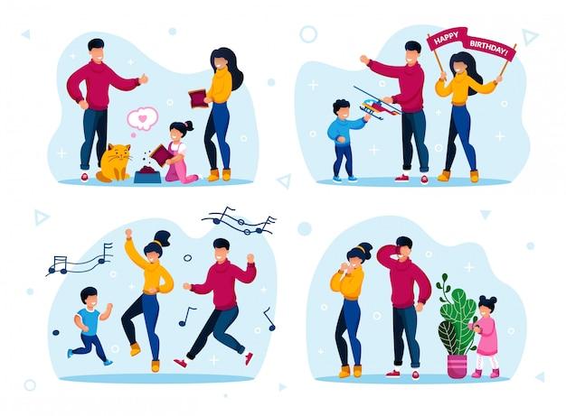 Conjunto de celebraciones familiares y entretenimientos