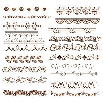 Conjunto de cenefa decorativa, elementos de boda.