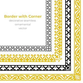 Conjunto de cenefa ornamental sin costuras decorativa con esquina.