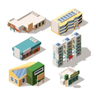 Conjunto de centro comercial exterior diseños isométricos 3d ilustraciones vectoriales