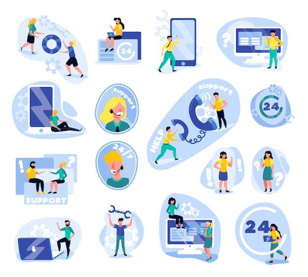 Conjunto de centro de llamadas de soporte de iconos aislados con iconos de gadgets de personajes humanos de doodle