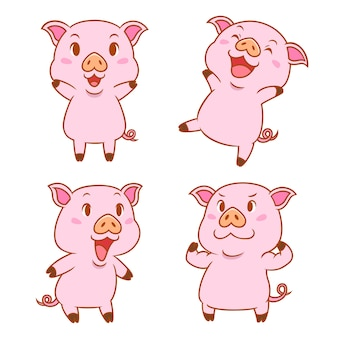 Conjunto de cerdos de dibujos animados lindo en diferentes poses.