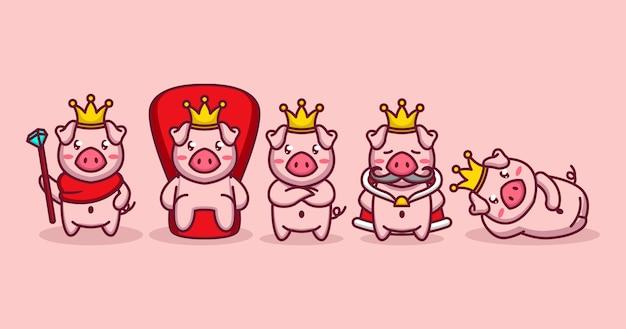 Conjunto de cerdos rey en poses gloriosas.