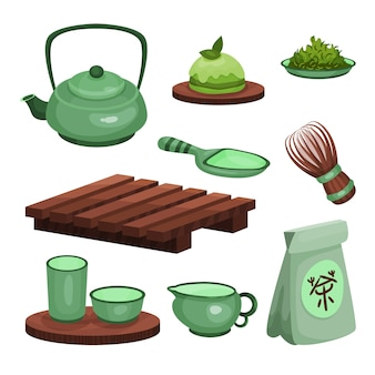 Conjunto de ceremonia del té, símbolos de la hora del té y accesorios ilustraciones de dibujos animados