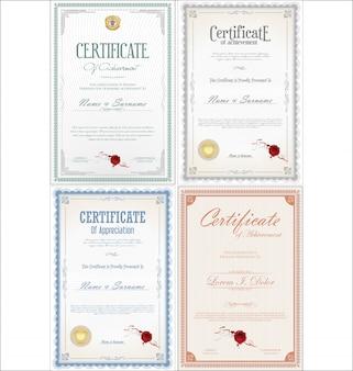 Conjunto de certificado de logro con sellos.