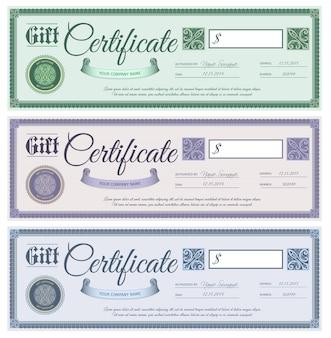 Conjunto de certificados de regalo