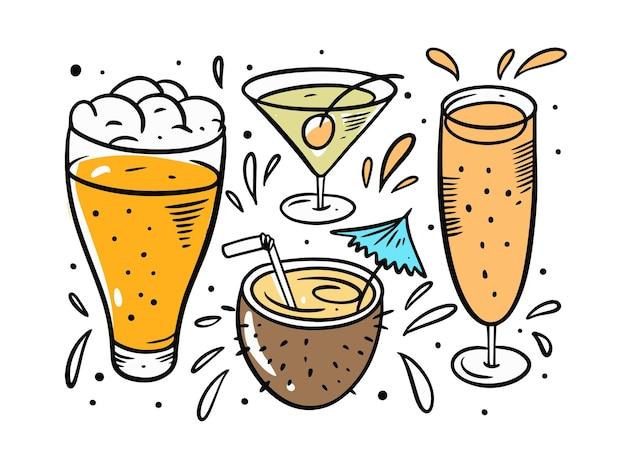 Conjunto de cerveza y cócteles aislado en blanco