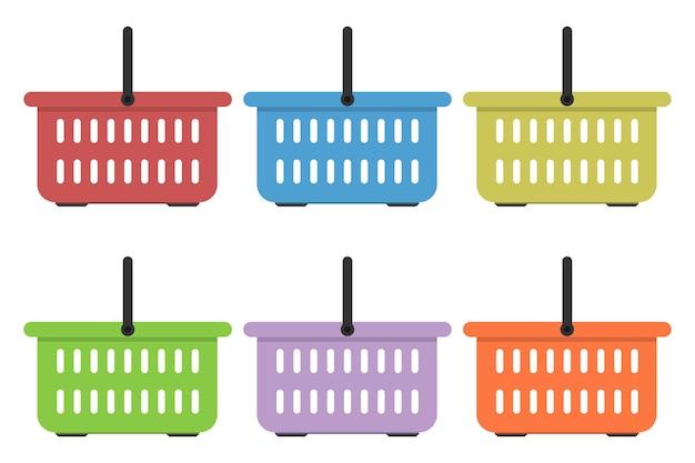 Conjunto de cesta de la compra de colores aislado en blanco