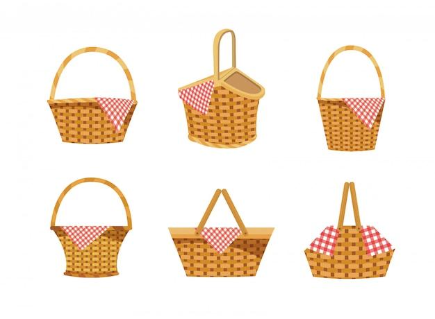 Conjunto de cesta con decoración de alimentos y manteles.