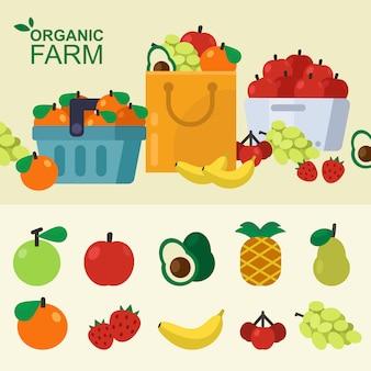 Conjunto de cesta de fruta fresca, bolsa de papel, carro, tienda local. ilustración vectorial