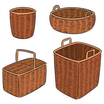 Conjunto de cesta de mimbre