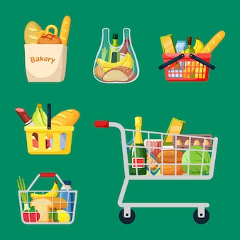 Conjunto de cestas y bolsas de la compra. contenedores de plástico de comestibles con ruedas y asas maduras