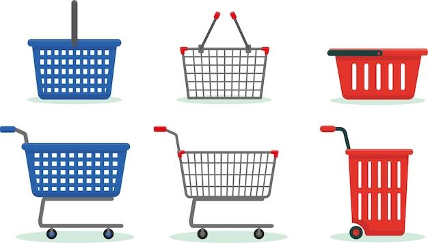 Conjunto de cestas y carros de la compra aislado en el fondo blanco.