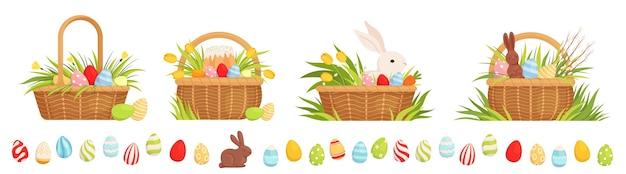 Conjunto de cestas de pascua para las vacaciones. cestas con huevos de colores, tulipanes, pastel de pascua y conejo.