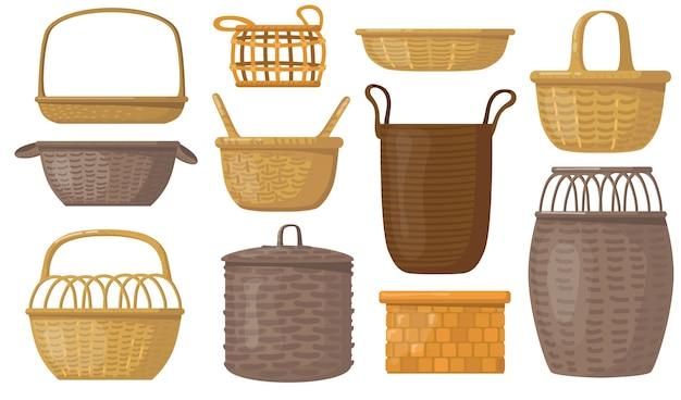 Conjunto de cestas vacías. cajas y cestas de mimbre, contenedores para almacenamiento.