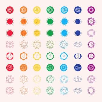 Conjunto de chakras multicolores