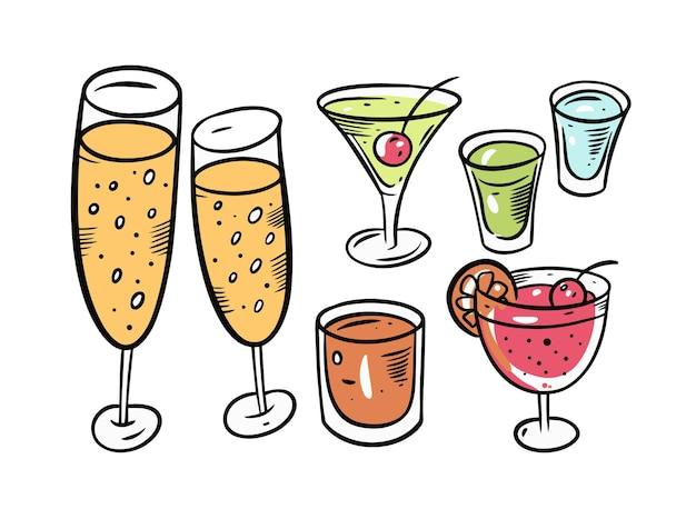Conjunto de champán y cócteles aislado en blanco