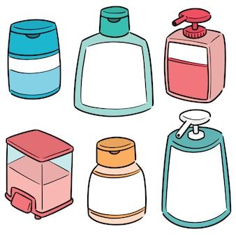 Conjunto de champú y botella de jabón líquido