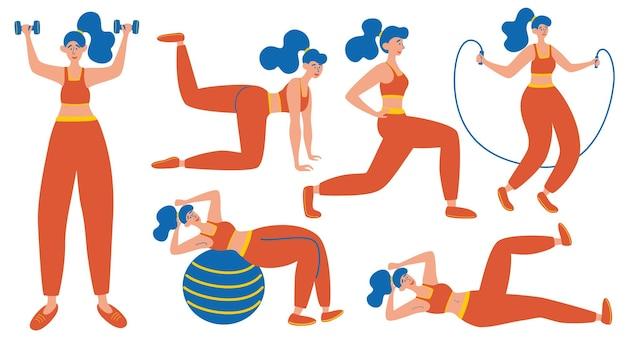 Conjunto de chica de entrenamiento. estocadas y sentadillas, plancha y abc. entrenamiento de cuerpo completo. concepto de diseño plano moderno de diseño de página web para sitio web y sitio web móvil. ilustraciones vectoriales. cada figura está aislada.