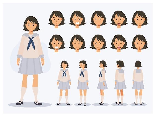 Conjunto de chica estudiante japonesa de carácter vectorial plano en uniforme con varias vistas, estilo de dibujos animados.