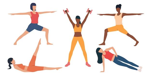 Conjunto de chicas delgadas haciendo ejercicio.