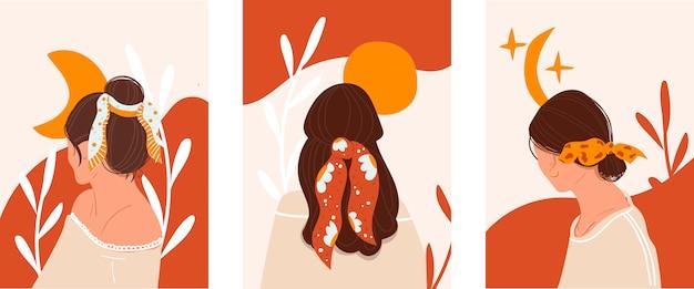 Conjunto de chicas jóvenes con estilo, protectores de pantalla para el sitio. concepto de una peluquería, un salón de belleza.
